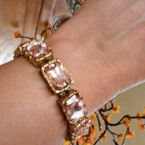Peach Crystal & Goldtone Stretch Bracelet Preloved